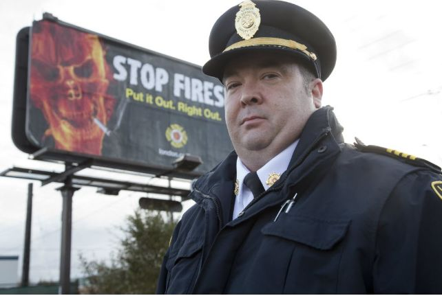 Assistant deputy fire chief Jack Burt says the fire that killed a woman yesterday was caused by careless smoking. (DEREK RUTTAn, The London Free Press)
